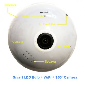 LED Bulb + 3D Panoramic HD IP Camera WiFi series HK-B13-L, HK-B2-L - 360° camera