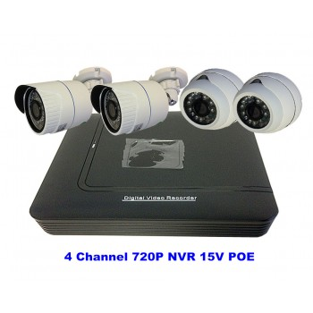 4 Channel Kits 720P NVR 15V POE