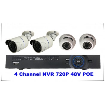 4 Channel Kits 720P NVR 48V POE