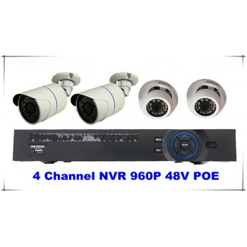 4 Channel Kits 960P NVR 48V POE